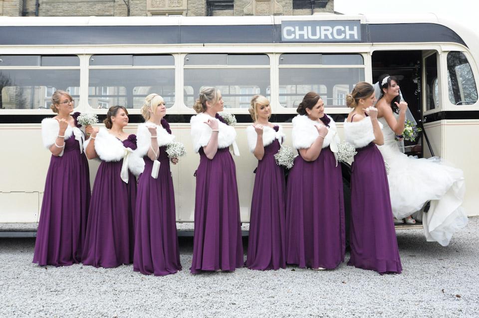 Vintage bus, bride and bridesmaids – South Leeds wedding