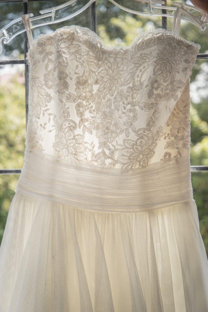 Back of Rachels wedding dress showing her train 6