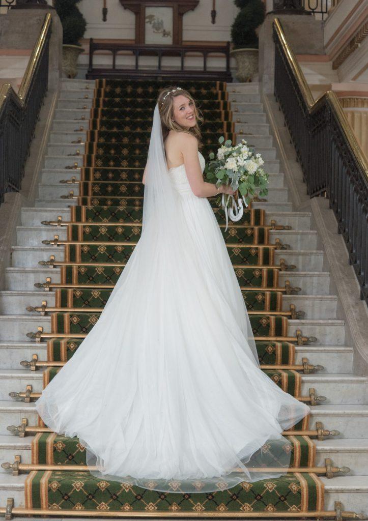 Back of Rachels wedding dress showing her train 3