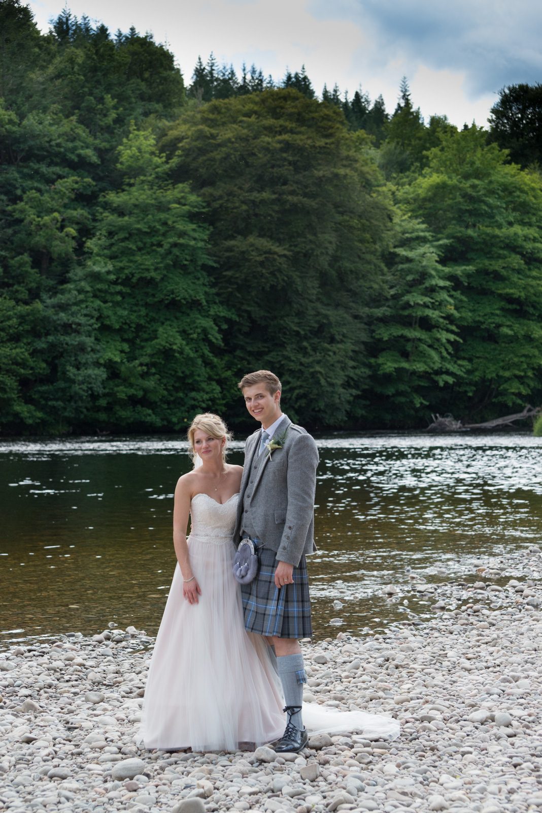 Bride and groom - romantic by the river Tay at Dunkeld House Hotel 5