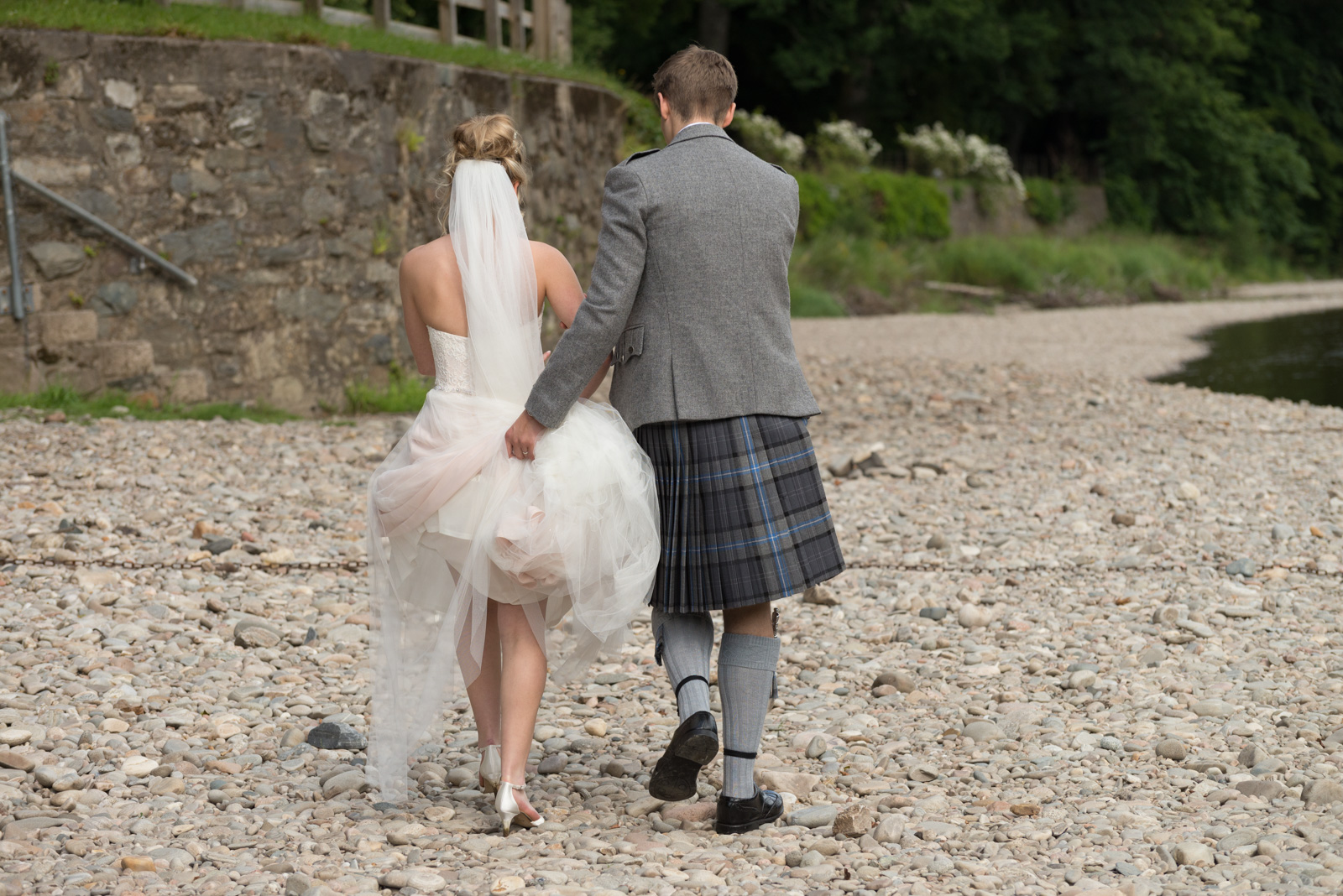 Bride and groom - romantic by the river Tay at Dunkeld House Hotel 3