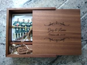 Platinum service - wooden engraved box and 6x4 prints and usb stick